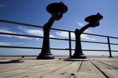 Due fontane di acqua su una piattaforma Fotografia Stock