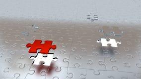 Due fori bianchi nel puzzle collega il pavimento con un pezzo rosso ed un grey soprattutto altro Fotografia Stock Libera da Diritti