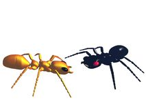 Due formiche variopinte su bianco Fotografie Stock