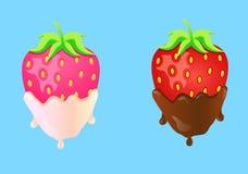 Due fragole in crema e cioccolato Immagini Stock Libere da Diritti