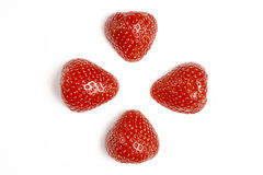 Due fragole lavate fresche rosse su fondo bianco Chiuda sulla macro foto Fotografia Stock Libera da Diritti