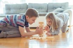 Due fratelli germani felici che giocano con i blocchi di legno a casa Fotografia Stock Libera da Diritti