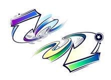 Due frecce dei graffiti della curva illustrazione di stock