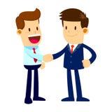 Due fronti felici di Shaking Hands With dell'uomo d'affari Immagine Stock