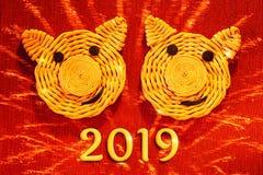 Due fronti sorridenti dei maiali, i simboli di 2019 sull'oroscopo cinese, su un fondo rosso con imitazione dei fuochi d'artificio fotografia stock libera da diritti