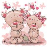 Due fumetto sveglio Teddy Bears Fotografia Stock