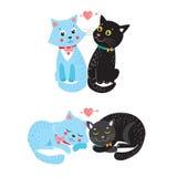 Due gatti svegli di vettore Elementi di progettazione di carta con i gatti svegli Fotografia Stock Libera da Diritti
