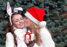Due gemelli allegri delle ragazze, nella sosta Fotografie Stock