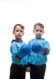 Due gemelli seri che posano in guantoni da pugile Immagine Stock