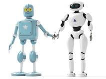 Due generazioni di robot che si tengono per mano con un backgro bianco su illustrazione di stock