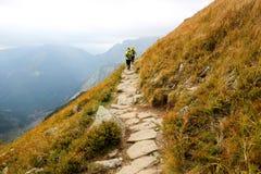 Due genti che fanno un'escursione nelle montagne fotografia stock libera da diritti