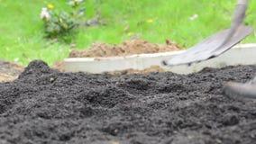 Due genti che lavorano nella sporcizia e nel suolo di scavatura del giardino con le pale stock footage