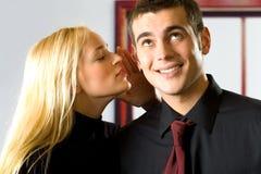 Due genti sorridenti felici Fotografie Stock Libere da Diritti