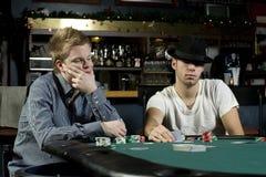 Due giocatori di mazza con i fronti di mazza Fotografie Stock Libere da Diritti