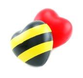 Due giocattoli a forma di del cuore molle Immagine Stock