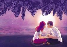 Due giovani amanti che baciano sulla spiaggia Royalty Illustrazione gratis