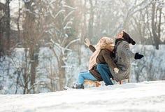 Due giovani che fanno scorrere su una slitta fotografia stock libera da diritti