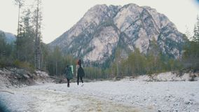 Due giovani donne che camminano lungo la riva del fiume roccioso con gli zainhi e la chitarra sui precedenti della foresta e stock footage