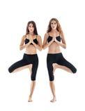 Due giovani donne che fanno posa dell'albero di asana di yoga Vrikshasana fotografia stock libera da diritti