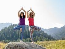Due giovani donne che fanno yoga su una roccia Fotografia Stock