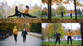 4 in 1 - due giovani donne che si esercitano fuori nel parco di autunno video d archivio