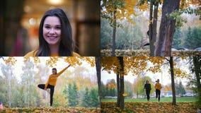 4 in 1 - due giovani donne felici che si esercitano fuori nel parco di autunno archivi video