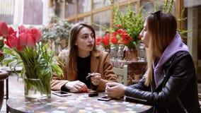 Due giovani donne stanno sedendo in un caff? ed in una chiacchierata ? una riunione dell'amico Le ragazze stanno sedendo nel caff video d archivio