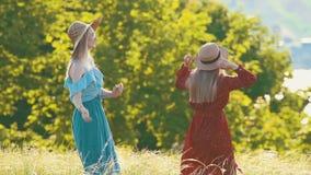 Due giovani donne sul campo di estate Uno di loro sta ballando stock footage