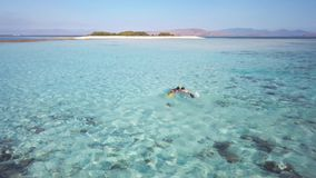 Due giovani femmine nuotano subacqueo, esplorando il fondo dell'oceano, dirigentesi verso la bella isola, posto superbo per video d archivio