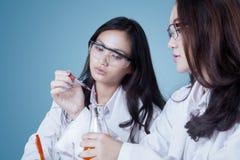Due giovani scienziati che effettuano ricerca chimica Fotografie Stock Libere da Diritti