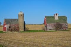 Due granai rossi in Farmfield immagini stock