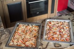 Due grandi pizze Immagini Stock Libere da Diritti