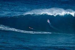 Due grandi surfisti dell'onda immagini stock libere da diritti