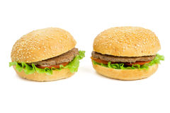 Due hamburger Fotografie Stock Libere da Diritti