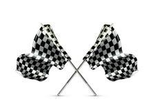 Due hanno attraversato le bandierine checkered Immagine Stock