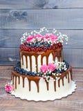 Due hanno messo a strati la torta nunziale con i mirtilli, ribes del gocciolamento di colore Immagini Stock Libere da Diritti