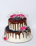 Due hanno messo a strati la torta nunziale con i mirtilli, ribes del gocciolamento di colore Fotografie Stock
