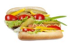 Due hot dog con la verdura fresca Fotografia Stock