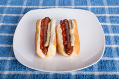 Due hot dog con senape e ketchup Fotografia Stock