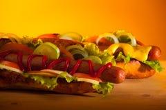 Due hot dog teasty Fotografie Stock