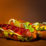 Due hot dog teasty Fotografia Stock