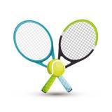 Due icone della pallina da tennis della racchetta grafiche Fotografia Stock Libera da Diritti
