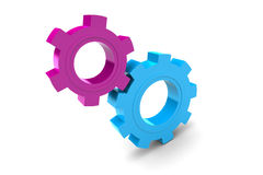 Due ingranaggi di plastica Fotografie Stock