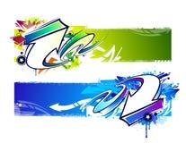 Due insegne astratte dei graffiti illustrazione vettoriale