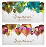 Due insegne con i palloni multicolori di volo, le ghirlande di carta ed i coriandoli Fotografia Stock