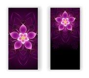 Due insegne con il fiore rosa Fotografia Stock Libera da Diritti