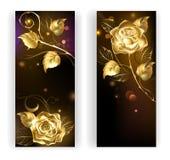 Due insegne con le rose dell'oro Fotografia Stock