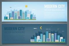 Due insegne della città Paesaggio urbano di notte e di giorno Città moderna Vettore Fotografia Stock