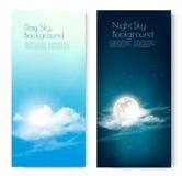 Due insegne di contrapposizione del cielo - giorno e notte illustrazione di stock