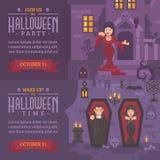 Due insegne orizzontali di festa con testo Uniscaci per Halloween Immagini Stock